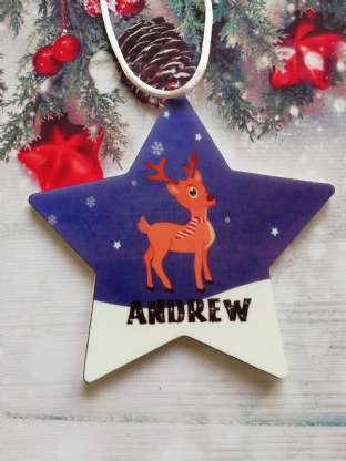 Christmas Reindeer Star Ornament Decoration